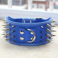 """3"""" Wide Leather Spiked Studed Dog Collar Extra Large Dog Pitbull Terrier M L XL"""