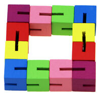 Wooden Fidget Block Twist Puzzle IQ Toys Brain Teaser Game Educational Gifts