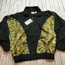 90s VTG nwt All Over BAROQUE Print M COLORBLOCK Jacket Windbreaker HIP HOP Gold