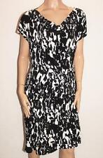BIB Designer Black White Print Jersey Wrap Style Dress Plus Size M BNWT #SS30