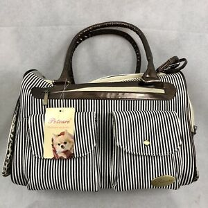 PetCare Pet Tote Carrier for Small Dogs Cats Dark Brown Stripes US-Based Seller