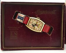 Vtg Disney Ingersoll US Time Mickey Mouse Gold Wind Up Watch In Box Never Worn