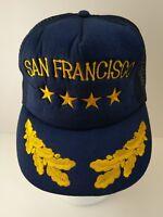 San Francisco Trucker Hat Navy Blue Gold Leaf Stars Embroidered Mesh Snapback