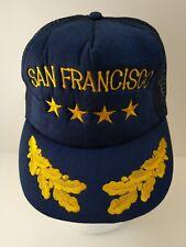 Vtg Hat San Francisco Navy Blue Gold Leaf Four Stars Embroidered Mesh Snapback