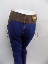 New Vtg Lawman Western Jeans CONCHO Denim & Brown Suede Slim Fit Jr 5 26X34
