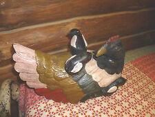 Antique Oak Hen & Chicks Primitive Hand Carved Wood Folk Art