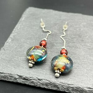 Vintage 925 Sterling Silver Drop Dangle Earrings Stacked Colorful Glass Beads