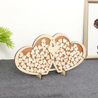 New Wooden Personalised Wedding Party Guest Book Alternative Hearts Drop Jar Box