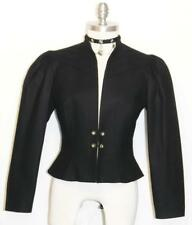 BLACK~WOOL German Women Winter Riding Peplum Dress Show Skirt Suit JACKET 38 6 S