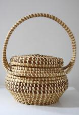 Vintage Sweetgrass Basket Handbag w/lid, Gullah from Charleston SC BEAUTIFUL