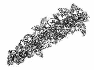 Vintage Filigree Floral Crystal Barrette Bridal Hair Clip Slide Grip