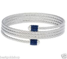 QVC Cable Coil Bangle Bracelet with Dark Blue Crystal Endcaps Stainless Steel