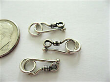 3 Bali Sterling Silver Wrapped Wire Hook Clasps 12mm