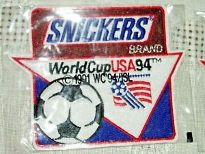 """LOT OF 2 Vintage NIW 1994 """"SNICKERS BRAND""""   WORLD CUP SOCCER USA PATCH,  Sew on"""
