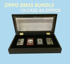 More details for zippo lighter display case + 4 lighters collectables smoking supplies gift xmas