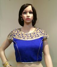 "36"" (38"") S Saree Blouse Indian Bollywood Designer Sari Top Choli Blue Gold T1"