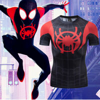 Spiderman Into the Spider-Verse Costume Cosplay Compression Quick-Drying T-shirt