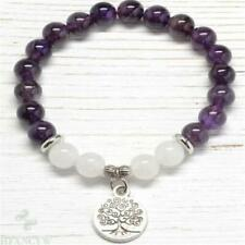 8mm White jade Amethyst Bracelet Unisex Sutra Wrist Men Chakras 7.5inches Energy