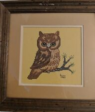 Framed Vintage Owl Cross Stitch Picture 1980 Needlepoint Rustic Country