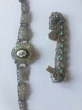 2 Persian Antique Filigree Silver And Tourqoise Bracelets With Painted Enamel