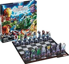 MARVEL CHESS SET WITH GAMEBOARD & 32 PIECES HASBRO SPIDER-MAN / LOKI  #sjan17-11