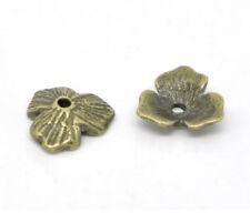 """10 Bronze FLOWER BEAD CAPS 7/16"""" (11mm) Findings (13006)"""