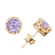 Purple With Gold Crown Crystal Rhinestone Women Earring Stud Earrings Jewelry