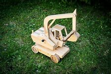 HandMade Wooden Excavator ECO Toy | Collectible HandCrafted Wood Digger Car Toy