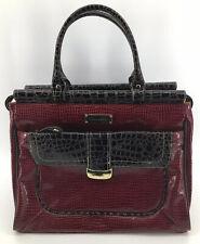 Samantha Brown Dark Red Croc Embossed Travel Bag Carry On Luggage Briefcase Bag