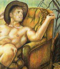 "PRINT Original Artwork Mixed Media Drawing Painting Gay Male Nude ""Haunted manor"