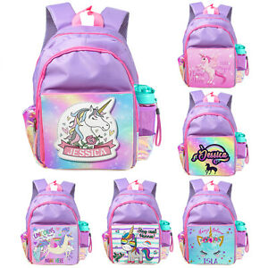 Personalised Girls Backpack UNICORN School Bag Childrens Kids Purple Rucksack