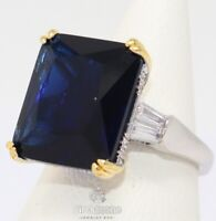 Large 5CT Princess Cut Blue Sapphire Ring Women Jewelry 14K White Gold Plated