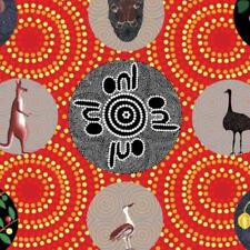Cotton Fabric BUSH TUCKER & WILD FIG RED Australian Aboriginal Art Fabric *TAF