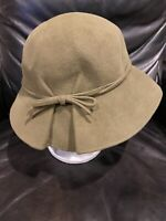 Wayne Wichern Millinery Olive Green Felt Hat With Bow