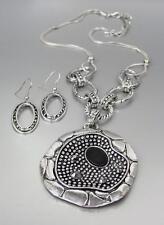 Einzigartig Antik Silber Punkte Textur Markasit Kristall Medaillon Halskette Set