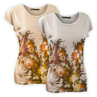 Womens Ladies Crew Neck Floral T-Shirt Silver Cream Short Sleeve Casual Top Tee