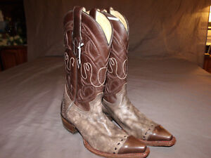 RARE Corral Vintage A1090 Men Chocolate/Sand Plato  Cowboy Boot Great Style 8.0D