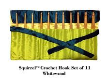 "Squirrel 6"" Long White Wood Crochet Hook - Set of 11"