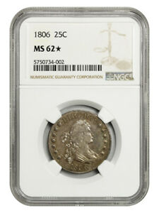 1806 25c NGC MS62 *Star* - Great Early Type Coin - Bust Quarter