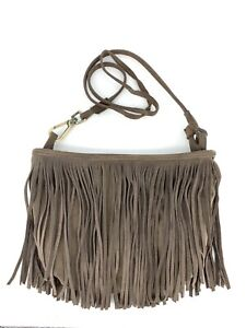 Ecote Urban Outfitters Crossbody Purse Small Bag Brown Suede Leather Fringe