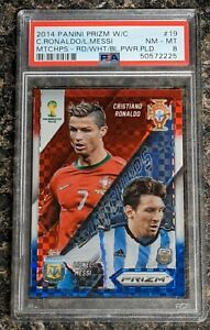 2014 Panini Prizm Cup Ronaldo Messi Matchups Red White Blue Power Plaid PSA 8