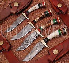 """LOT OF 4   6""""CUSTOM HANDMADE 1095 DAMASCUS STEEL HUNTING KNIFE  STAG ANTLER 9800"""