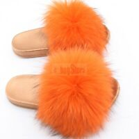 Fashion Women's Fluffy Real Raccoon Fur Slides Slipper Flat Sandal Indoor Shoes