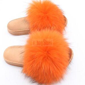 Fashion Women's Fluffy Real Raccoon Fur Slides Slipper Flat Sandal Indoor Shoes