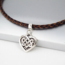 Silver Alloy Irish Celtic Knot Love Heart Pendant Brown Braided Leather Necklace