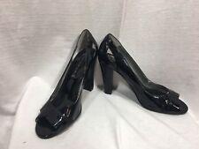 "Steve Madden Stiletto Black Block Heel Peep Toe Patent Size 8 M Heels 4"""