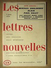 REVUE LES LETTRES NOUVELLES MIKHAÏL CHOLOKHOV ALAIN PAUL VALET JUIN 1959