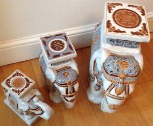 3 Fabulous Vintage Ceramic Indian Elephant Jardiniere/Plant Pot Stands