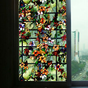 3D Static Cling Window Films Frosted Stained Camellia Glass Sticker Retro Decor