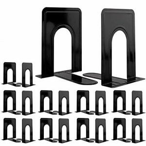 Jekkis 20pcs Metal Bookends Heavy Duty Book Ends 6.6 x 5.7 x 4.9 Inches Black...